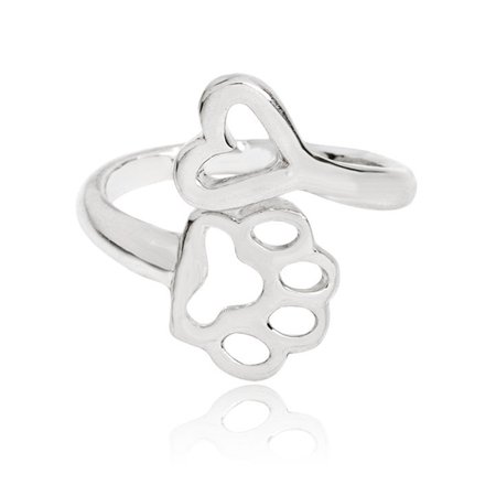 Women Metal Alloy Ring Dog Paw Heart Decoration Party Night Club Ring Jewelry - image 1 of 4