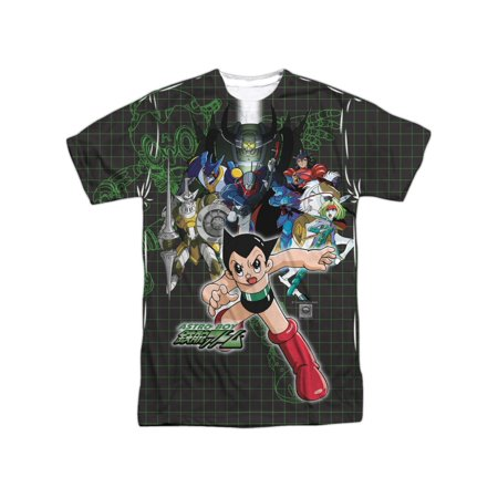 Astro Boy Japanese Anime Cartoon Show Characters Group Adult Front Print T-Shirt - Anime Boy Rockstar