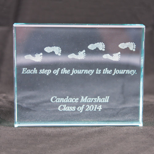 Personalized Each Step of the Journey Glass Paperweight