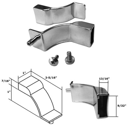 Polished Chrome Sliding Shower Door and Tub Enclosure Towel Bar Brackets - Set of 2