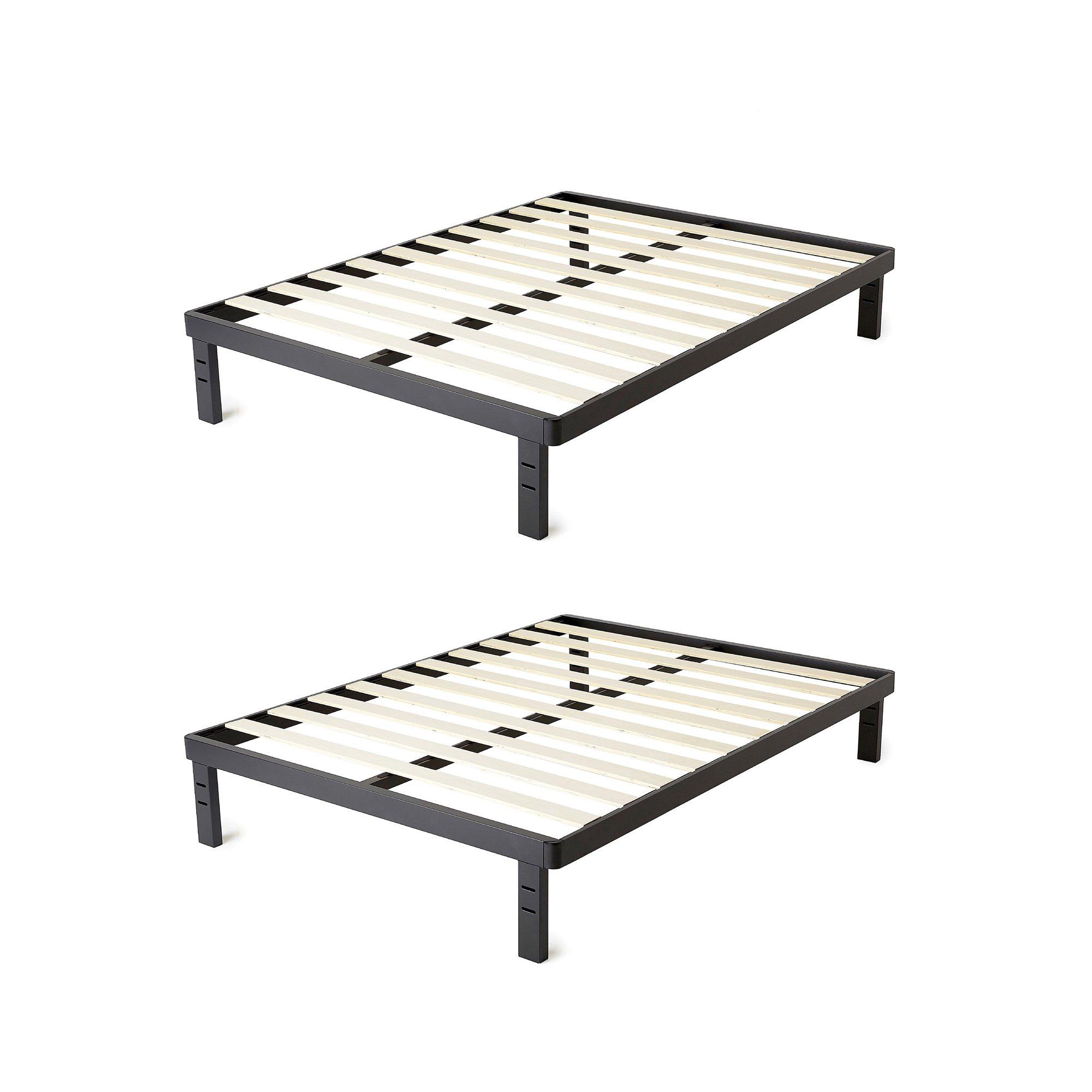 intelliBASE Deluxe Black Metal Platform Bed Frame w/ Wooden Slats, Twin (2 Pack)