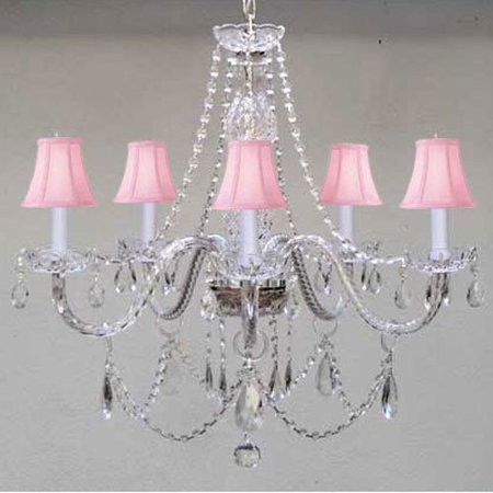 New! Murano Venetian Style Authentic All Crystal Chandelier Lighting With Pink Shades