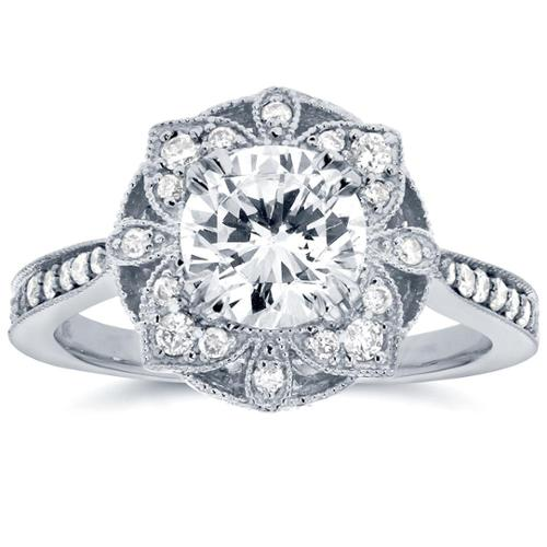 Annello  by Kobelli 14k White Gold 1 1/4ct TGW Round Moissanite (HI) and Diamond Vintage Floral Engagement Ring