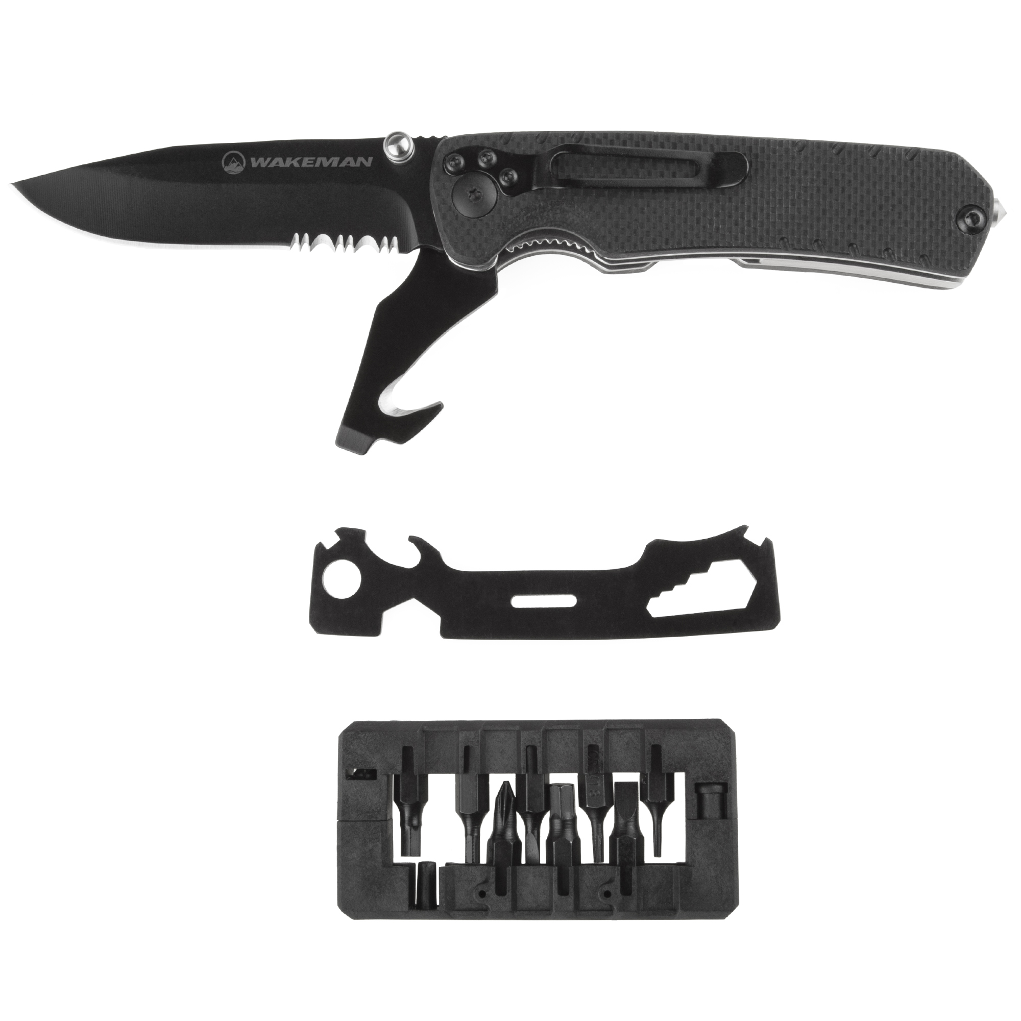 Multitool Folding Pocket Knife, 9-in-1 Multi-Purpose Utility Set Best for Survival, Camping, Hunting and Hiking by Wakeman Outdoors