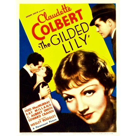 The Gilded Lily From Left Fred Macmurray Claudette Colbert Far Right Ray Milland On Midget Window Card 1935 Movie Poster