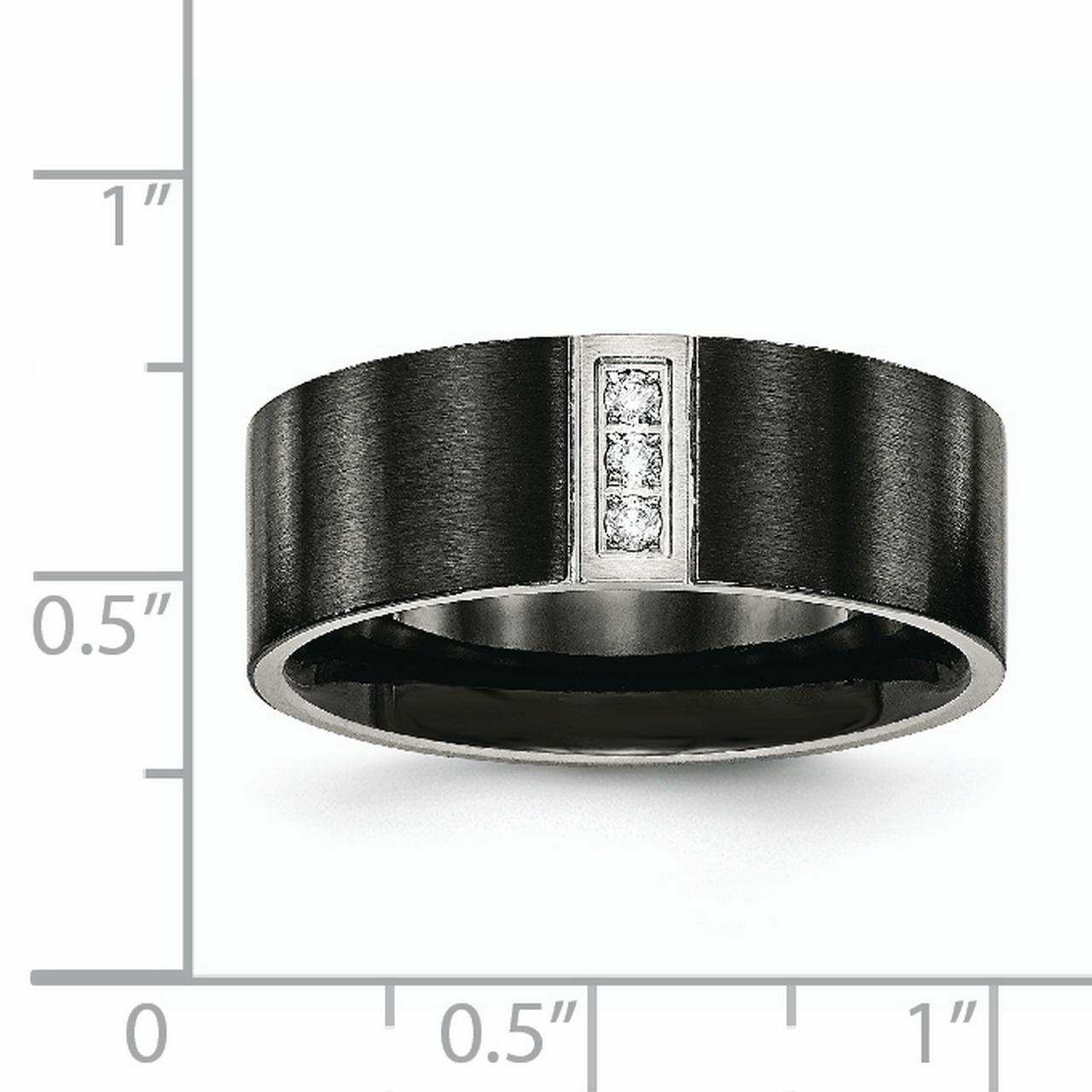 Stainless Steel Brushed Black IP Flat Three CZ Ring 8 Size - image 2 of 7
