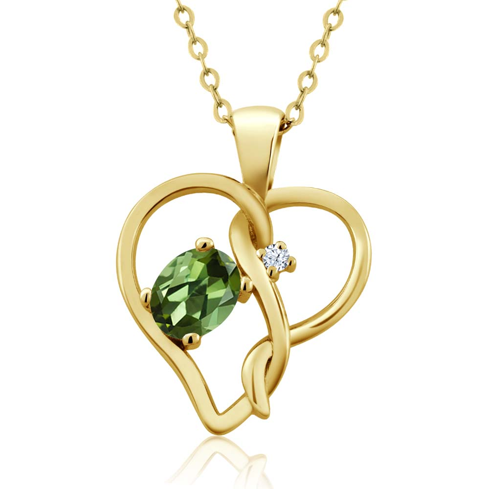 0.51 Ct Oval Green Tourmaline White Created Sapphire 14K Yellow Gold Pendant by
