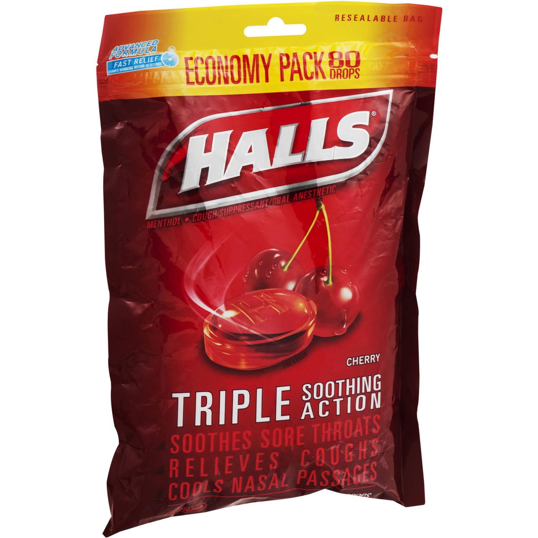 Halls Cherry Menthol Drops Cough Suppressant 80 Ct