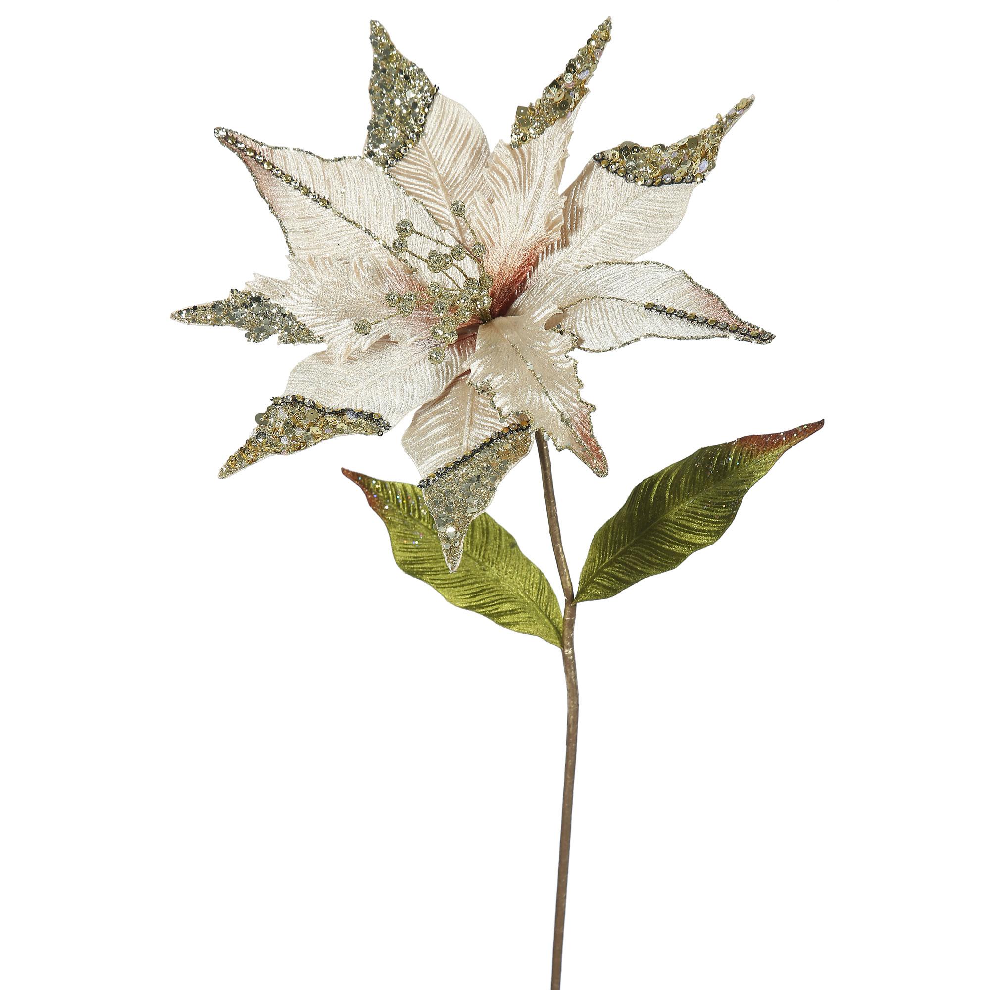 "Vickerman 26"" Champagne Poinsettia, 12"" Flower 3/B"