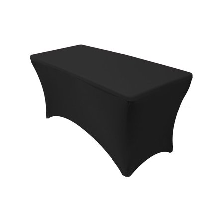 Your Chair Covers - Spandex 4 Ft Rectangular Table Cover Black for Wedding, Party, Birthday, Patio, etc.