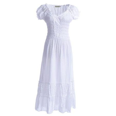 Anna-Kaci Summer Women Renaissance Peasant Maiden Boho Inspired Cap Sleeve Lace Trim - Rennaissance Dresses
