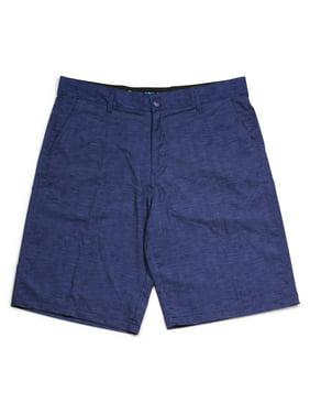 Men's Textured Solid Flat Front Hybrid Swim Shorts Dark Navy-SZ-40