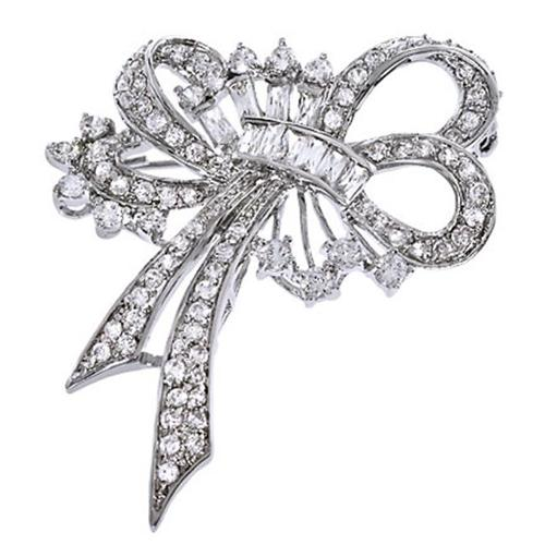 CZ PIN1059 C. Z.  Diamond Silver Forget Me Not Ribbon Bow Pin Brooch
