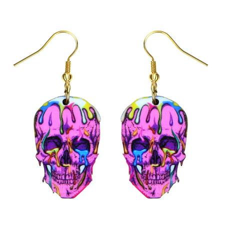 0635323897428 - Sugar Skull Style Earrings Bright Colorful Pink Skull Head Colorful Blood Design Earrings (Skull Head Earrings)