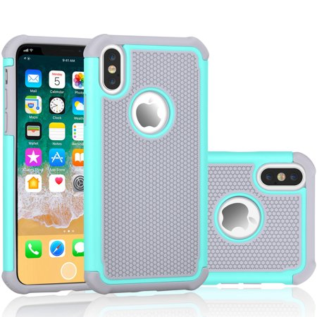 iPhone X Case, iPhone X Cute Case, Tekcoo [Tmajor] Shock Absorbing [Turquoise/Grey] Rubber Silicone & Plastic Scratch Resistant Bumper Grip Rugged Hard Cases Cover For Apple iPhone X (5.8 -