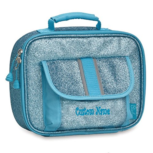 "Personalized Bixbee ""Sparkalicious"" Kids Insulated Lunchbox - Turquoise"