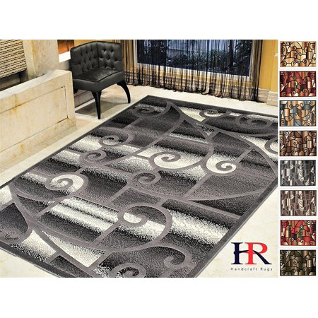 - Handcraft Rugs-Modern Contemporary Living Room Rugs-Abstract Carpet with Geometric Swirls Pattern-Gray/Black/White/Ivory (5x7 feet)