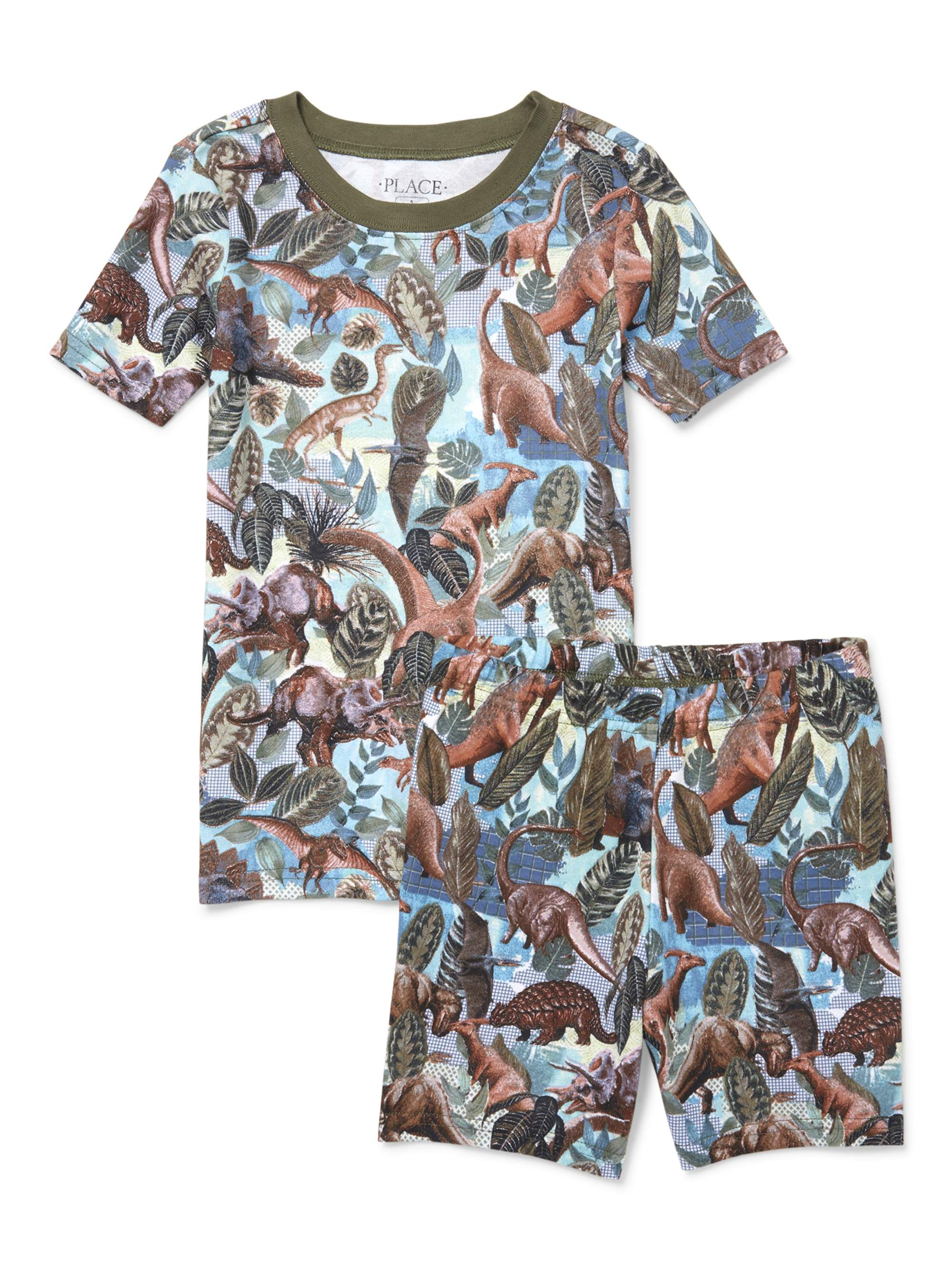 Boy' Short Sleeve Jungle Print 2 Piece Pajama Sleep Set (Little Boy & Big Boy)
