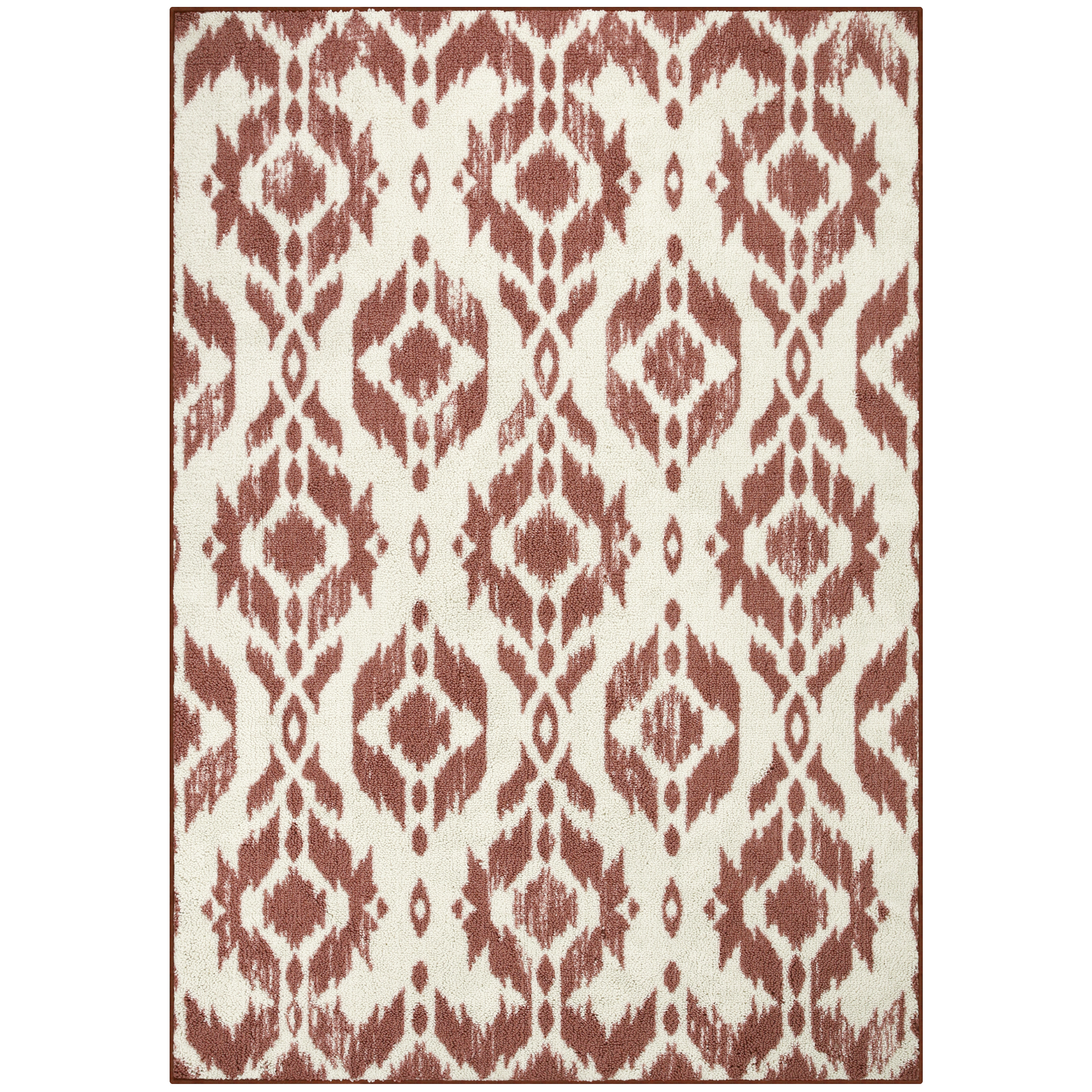 Mainstays Mundare Super Loop Printed Nylon Cream and Coral Washed Ikat Area Rug or Runner, Multiple Sizes
