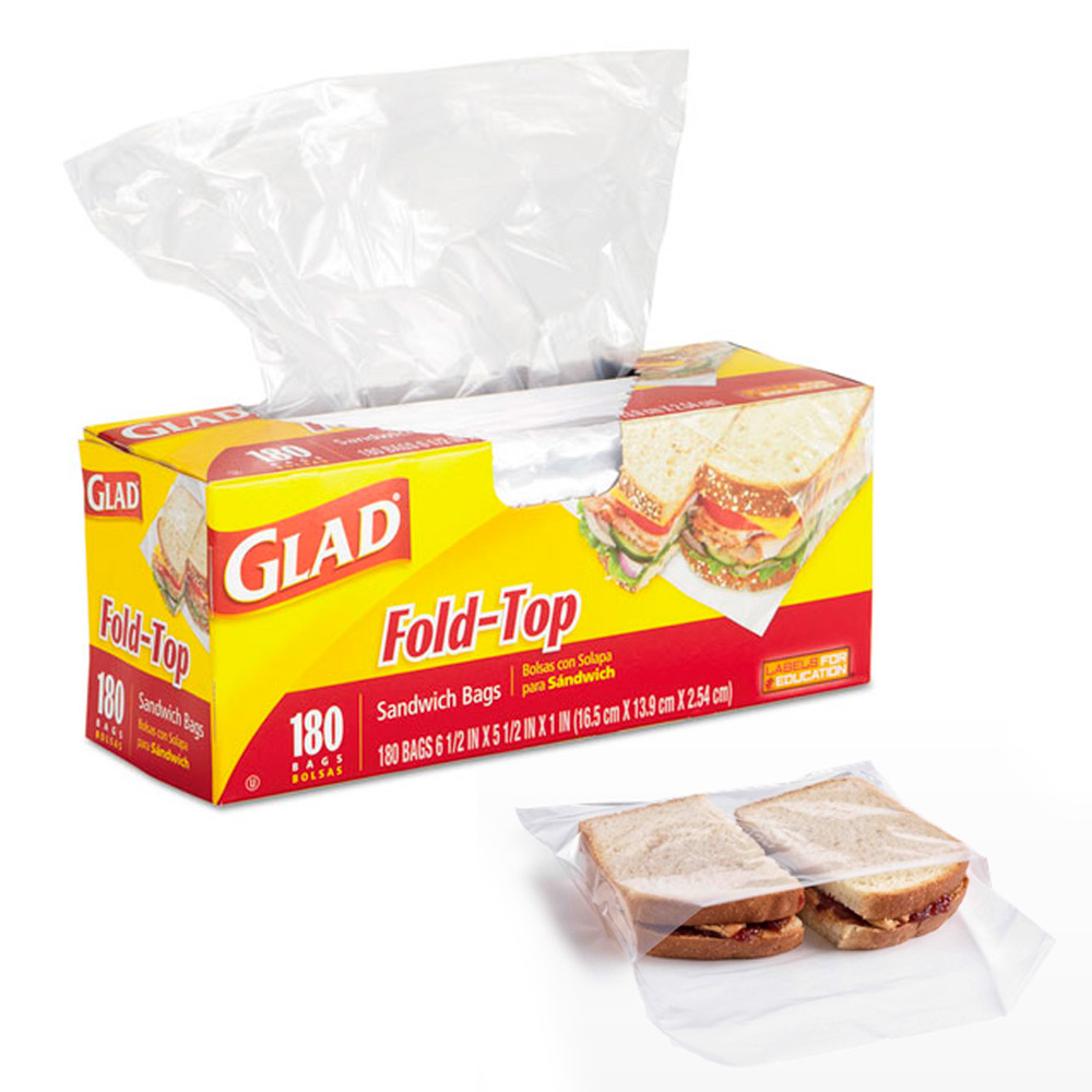 180 Pc Glad Fold Top Sandwich Bags Snacks School Lunch Travel Camp Storage New !