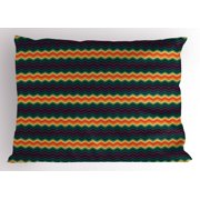 Chevron Pillow Sham, Colorful Zigzag Design Classical Arrangement of Lines Repeating Traditional Pattern, Decorative Standard Size Printed Pillowcase, 26 X 20 Inches, Multicolor, by Ambesonne