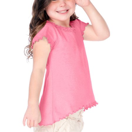 kavio! little girls 3-6x lettuce edge ruffles high low short sleeve top pink flash 4 (Flash Shirts For Girls)