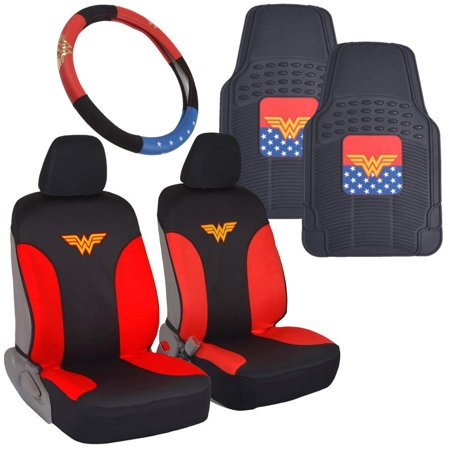 Wonder Woman Car Accessories Pack - Seat Cover, Rubber Floor Mats & Steering Wheel Cover for Car SUV Van