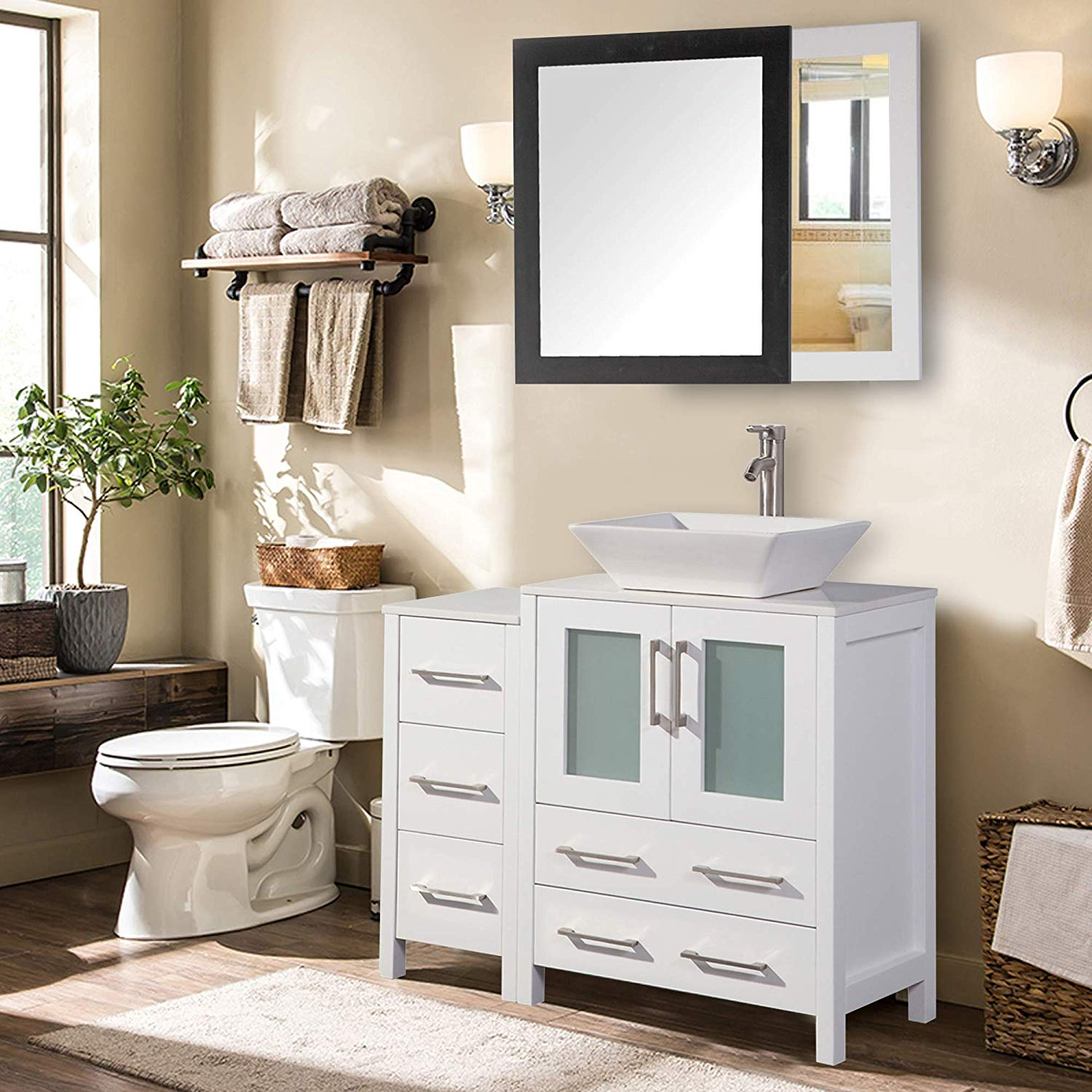 "vanity art 36"" single sink bathroom vanity combo set solid"