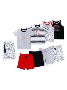 Little Star Organic Toddler Boys 100% Organic Cotton Star-Pack Mix 'n Match, 8pc Gift Bag Outfit Set