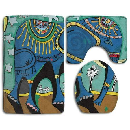 XDDJA Elephant Art 3 Piece Bathroom Rugs Set Bath Rug Contour Mat and Toilet Lid Cover - image 1 of 2