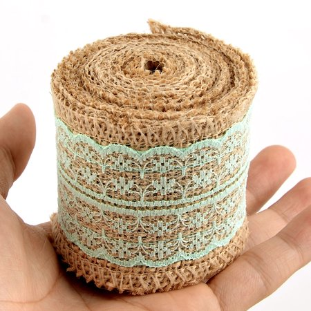 Household Gift Lace Edge Ornament Craft Burlap Ribbon Roll Light Green 2.2 Yards - image 4 of 5
