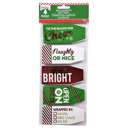 Christmas House Foil Gift Tags with Strings, 25-ct. Pack - Green & White From nostalgic and classic to whimsical and fanciful, this assortment of foil gift tags has it all! Each pack includes 25 tags, each with attached strings.