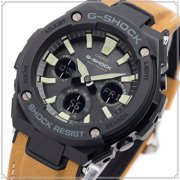 Mens G-STEEL Tan Leather Band Solar Ana-DigitaI Watch GST-W120L-1B