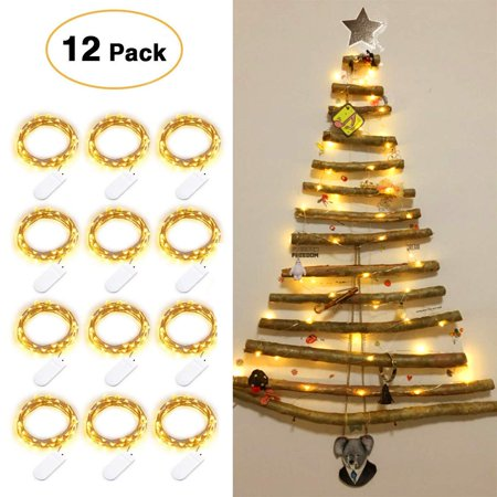 Life Glow 12pcs LED Starry String Lights with 20 Mini LEDs on 6.6FT/2M Copper Wire, Fairy Lights Powered by 2xCR2032(Incl) Batteries for Wedding Holiday Halloween Christmas Decorations (Warm White) ()