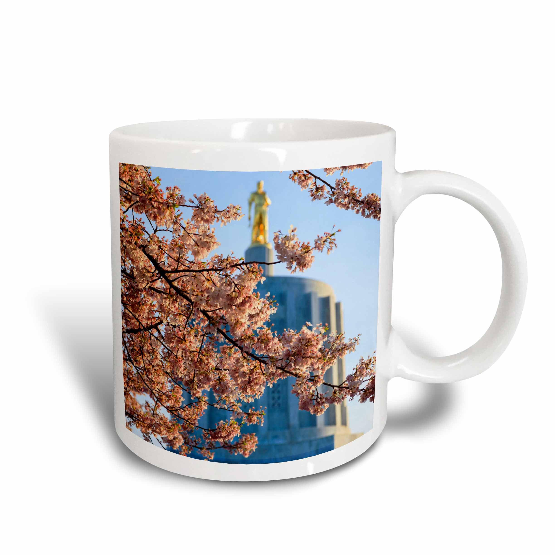3dRose USA, Oregon, Salem Oregon State Capitol and Cherry Blossoms., Ceramic Mug, 15-ounce