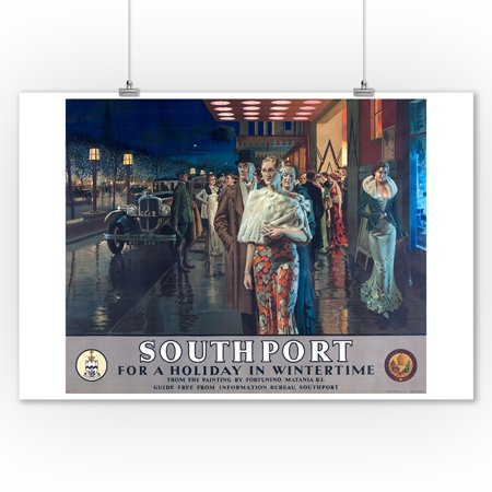 Southport Vintage Poster (artist: Matania) England (9x12 Art Print, Wall Decor Travel Poster) (Southport Hanging)