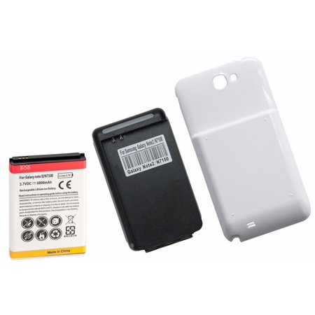 High Capacity Battery Door - 6800mAh High Capacity Battery + White Door + Charger for Samsung Galaxy Note 2