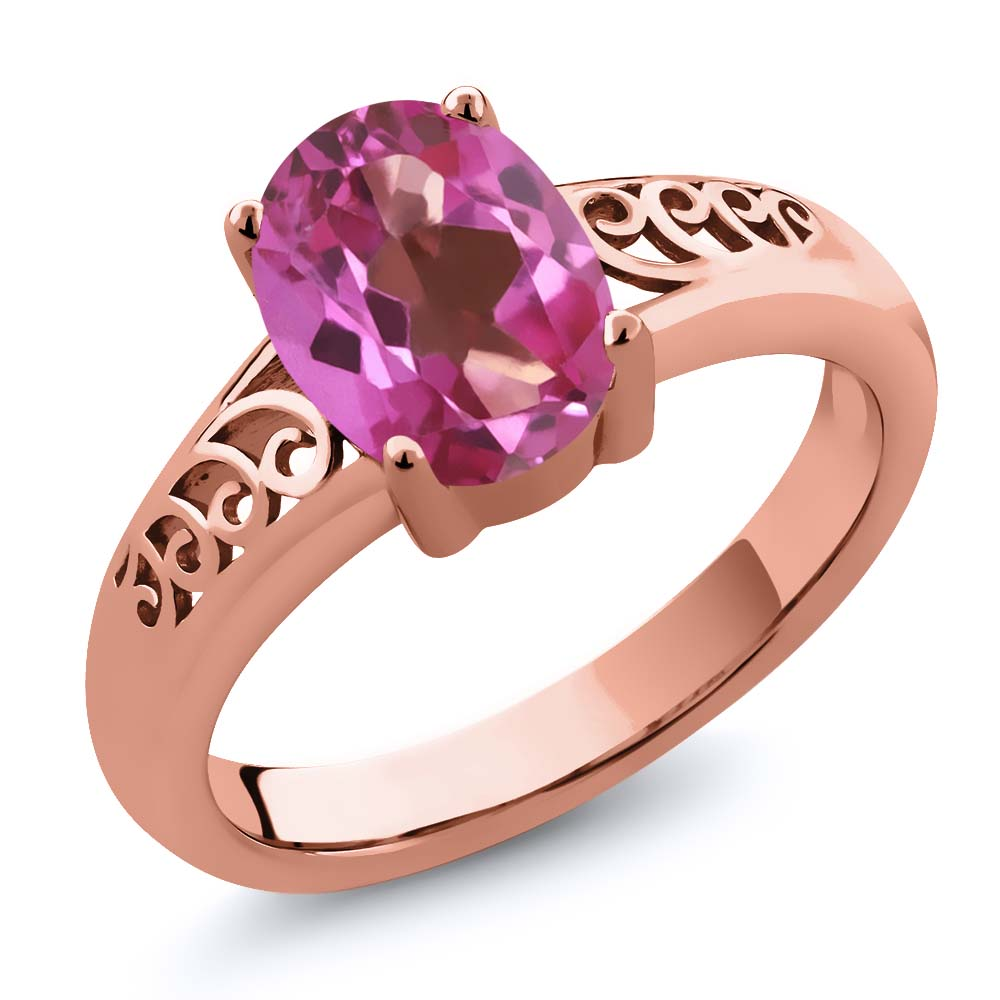 1.80 Ct Oval Pink Mystic Topaz 18K Rose Gold Plated Silver Ring