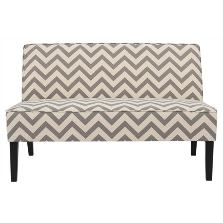 Upholstered Loveseat in Gray and White