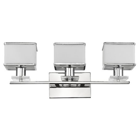 (CHLOE Lighting TRILLUMINATE Contemporary 3 Light Chrome Finish White Opal Glass Bath Vanity Wall Fixture 24