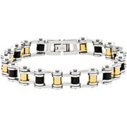 Stainless Steel Yellow IP-Plated and Black Rubber Bracelet, 8.75