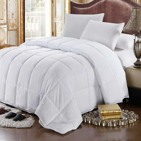White Goose Feather Down Comforter 100% Cotton All Season Oversized -King/California King (Oversized Ca King Down Comforter)