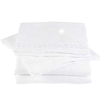 Florida Brands King Size Washable Microfiber Bed Sheet Set   White Finish