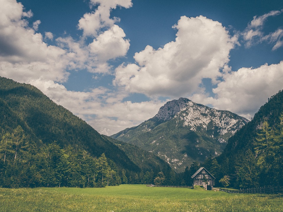 House Country House Landscape Mountains Landscape Poster Print 24 x 36 by