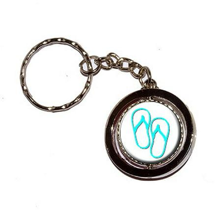 Flip Flops Spinning Circle Keychain Flip Flops Genuine Leather Keychain