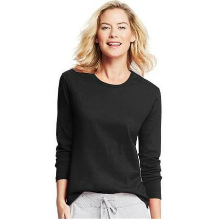 O9133 Womens Long-Sleeve Crewneck T-Shirt, Ebony - (Ebony Womens Shirt)