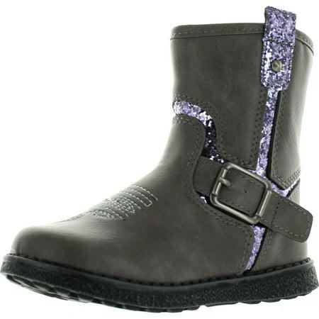 0b5b77b33a BETANI ISLA-1 Girls Glitter Embroidered Side Zipper Flat Heel Ankle Bootie