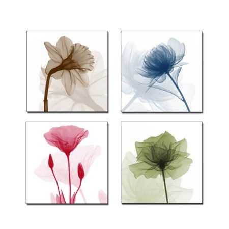 "Meigar 4Pcs Framed 11.81""X11.81"" Modern Abstract Flower Paintings Canvas Wall Art Gallery Wrapped Grace Floral Pictures on Canvas Prints Home Decorations"