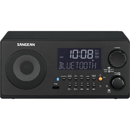 Sangean WR22BK FM-RBDS/AM/USB Bluetooth Digital Tabletop Radio with