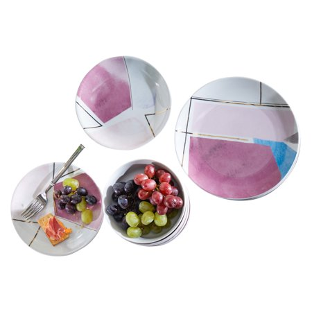 MoDRN Glam Geo 12 Piece Porcelain Dinnerware - China Porcelain Dinnerware Set